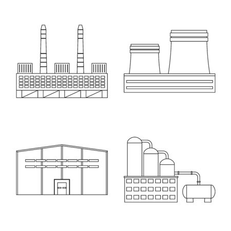 Vector design of manufacturing and company symbol. Set of manufacturing and structure stock symbol for web.