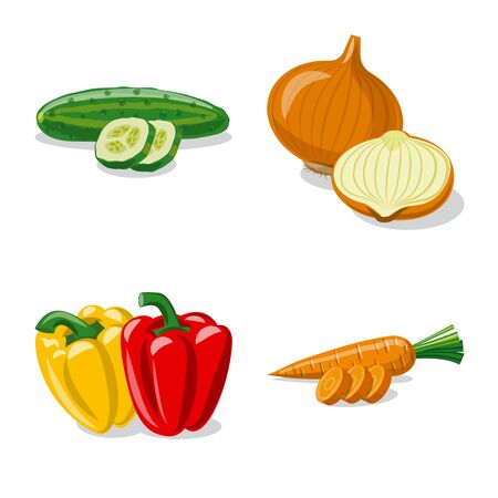 Isolated object of vegetable and fruit icon. Collection of vegetable and vegetarian vector icon for stock.
