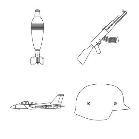 Vector illustration of weapon and gun icon. Set of weapon and army vector icon for stock. Vector Illustration