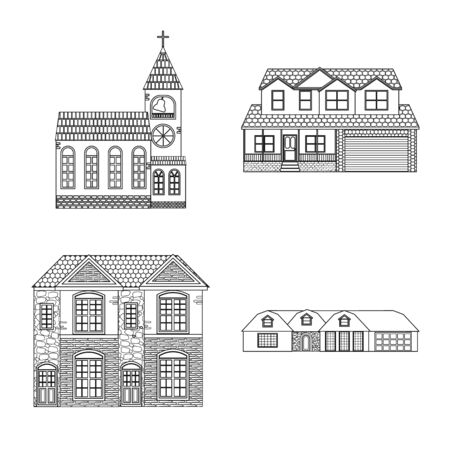 Vector illustration of building and front sign. Set of building and roof stock vector illustration.