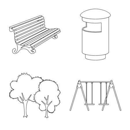 Diseño vectorial de paisaje y símbolo de la naturaleza. Conjunto de ilustración de vector stock paisaje y ciudad.