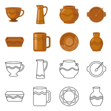 Vector illustration of pottery and ware icon. Set of pottery and clayware stock symbol for web. Ilustrace