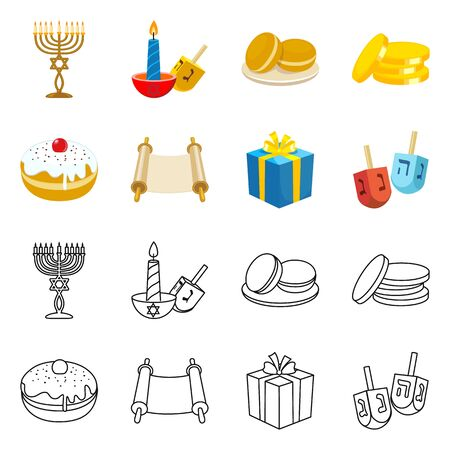 Vector illustration of celebration and tradition symbol. Set of celebration and hebrew vector icon for stock.