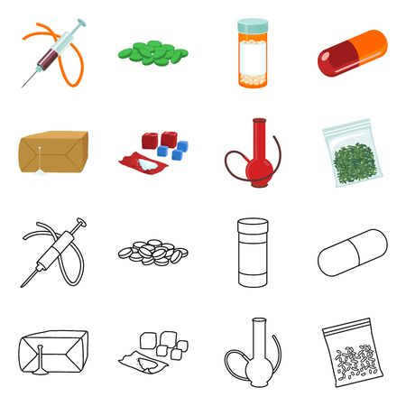 Isolated object of disease and chemical symbol. Collection of disease and addiction vector icon for stock.