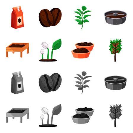 Vector illustration of process and farming sign. Set of process and technology stock vector illustration. Foto de archivo - 134559494