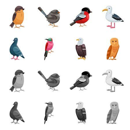 Vektorillustration des Tier- und Wildsymbols. Satz von Tier- und Naturaktiensymbolen für das Web.