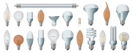 Halogen bulb realistic vector set icon. Illustration of isolated realistic icons halogen of light lamp. Isolated set electric and fluorescent bulb.