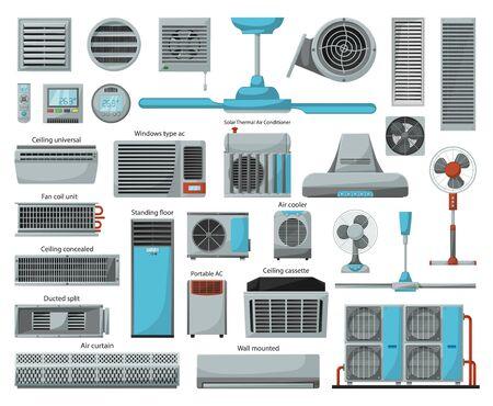 Ventilador de aire, caricatura, vector, conjunto, icon., Vector, ilustración, icono, de, ventilador, equipment., Aislado, caricatura, conjunto, de, aire, ventilador, system.
