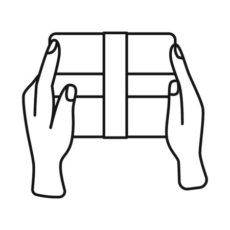Vector illustration of box and cardboard symbol. Web element of box and hand stock symbol for web.