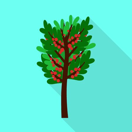 Vector design of tree and coffee symbol. Collection of tree and plant vector icon for stock. Ilustracja