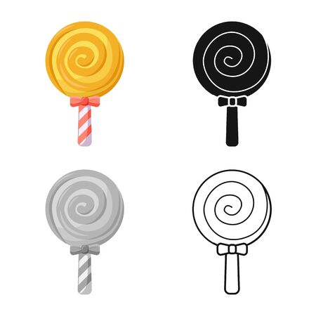 Isolated object of lollipop and spiral logo. Graphic of lollipop and yellow stock vector illustration. 向量圖像
