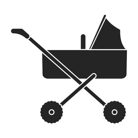 Stroller vector icon.Black vector icon isolated on white background stroller.