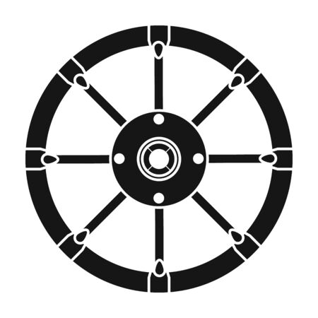 Wheel of cart vector icon.Black vector icon isolated on white background wheel of cart. Vector Illustration