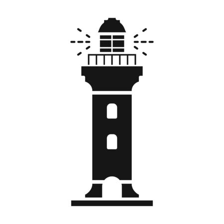 Lighthouse vector icon.Black vector icon isolated on white background lighthouse.