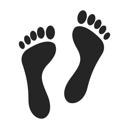 Print of foot vector icon.Black vector icon isolated on white background print of foot .