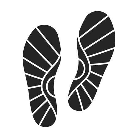 Print of shoe vector icon.Black vector icon isolated on white background print of shoe . Illustration