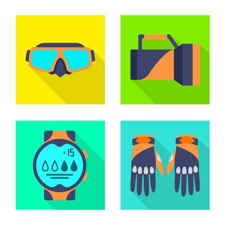 Isolated object of diving and water icon. Set of diving and scuba vector icon for stock.
