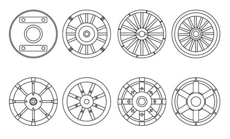 Wooden wheel vector line set icon.Vector illustration cart of wheel. Isolated line icons cartwheel for wagon on white background .