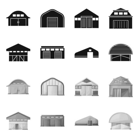 Vector illustration of architecture and facade. Set of architecture and construction vector icon for stock. Ilustração