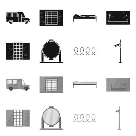 Isolated object of security and police. security and detention vector icon for stock.