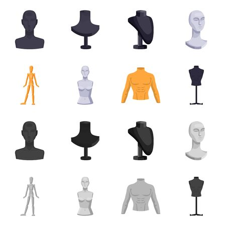 Vector design of mannequin and fashion icon. Set of mannequin and atelier vector icon for stock. Vettoriali