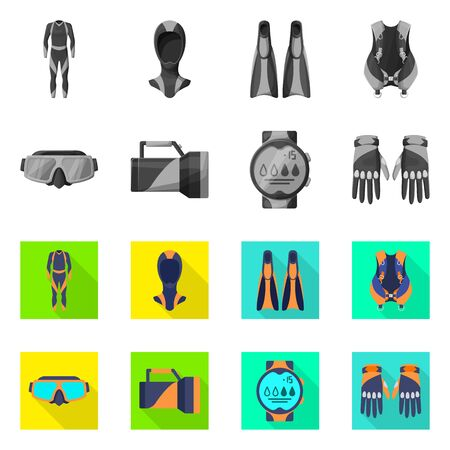 Isolated object of diving and water sign. Collection of diving and scuba vector icon for stock.