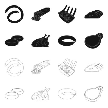 Vector design of meat and ham symbol. Collection of meat and cooking stock vector illustration.