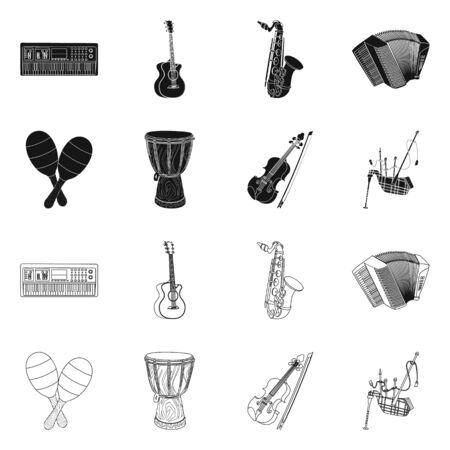Vector illustration of music and tune symbol. Set of music and tool vector icon for stock. 일러스트
