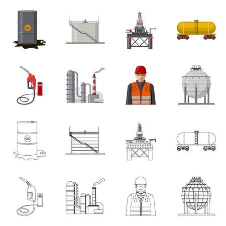 Geïsoleerde object van teken van olie en gas. Set van olie en benzine aandelensymbool voor web.