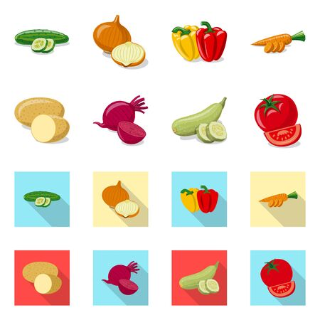Vector illustration of vegetable and fruit symbol. Set of vegetable and vegetarian vector icon for stock.