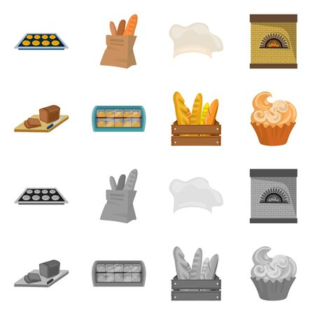 Vector illustration of bakery and natural sign. Set of bakery and coffee stock vector illustration.
