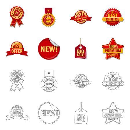 Vector illustration of emblem and badge . Collection of emblem and sticker stock vector illustration.