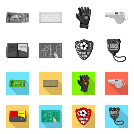 Vector design of soccer and gear sign. Set of soccer and tournament vector icon for stock.