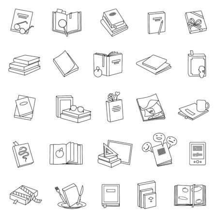 Library books vector line set icon.Vector illustration school literature on white background .Set line icon library book and dictionary.