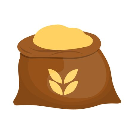 Vector design of bag and flour icon. Set of bag and wheat vector icon for stock.