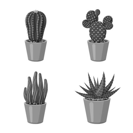 Vector design of cactus and pot icon. Collection of cactus and cacti vector icon for stock.