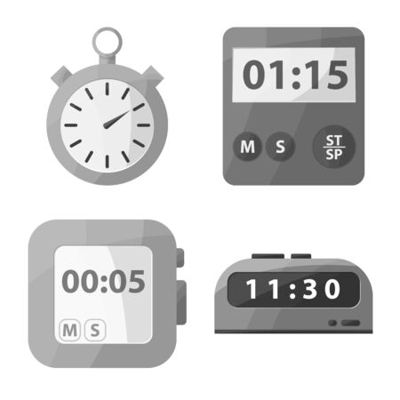 Vector illustration of equipment and count symbol. Collection of equipment and clock stock vector illustration.