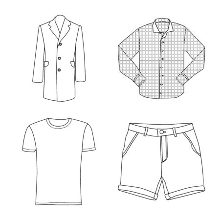 Isolated object of man and clothing logo. Collection of man and wear stock symbol for web. Illustration