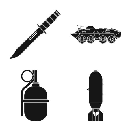 Vector design of weapon and gun logo. Collection of weapon and army vector icon for stock. Ilustração