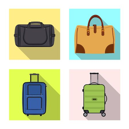 Isolated object of suitcase and baggage icon. Collection of suitcase and journey stock vector illustration. Ilustração