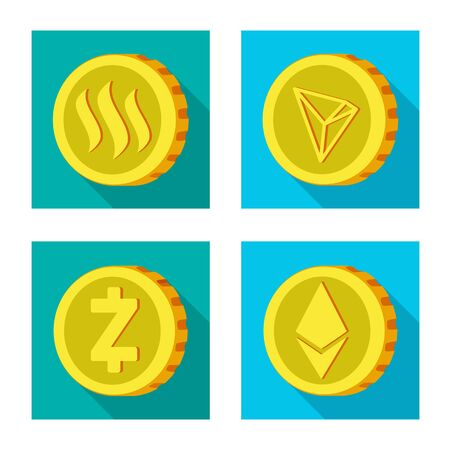 Vector illustration of cryptocurrency and coin sign. Set of cryptocurrency and crypto vector icon for stock.