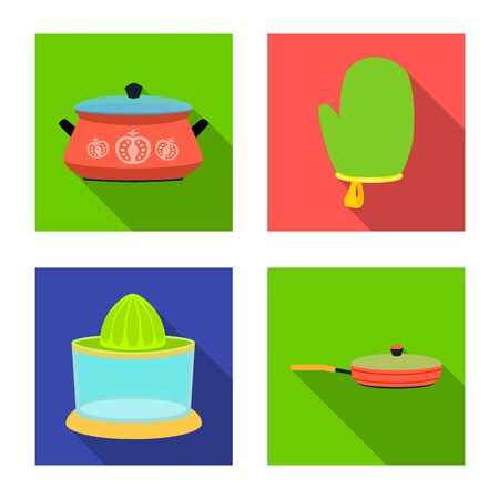 Vector design of kitchen and cook logo. Set of kitchen and appliance stock vector illustration. 向量圖像
