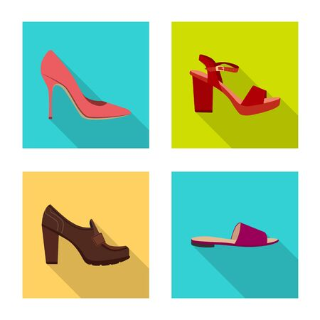 Vector design of footwear and woman symbol. Set of footwear and foot stock symbol for web. Ilustração