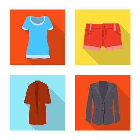 Vector design of woman and clothing symbol. Collection of woman and wear stock symbol for web.