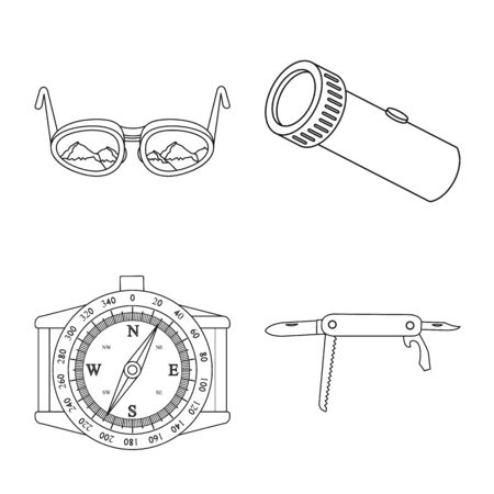 Vector illustration of mountaineering and peak sign. Collection of mountaineering and camp stock vector illustration.