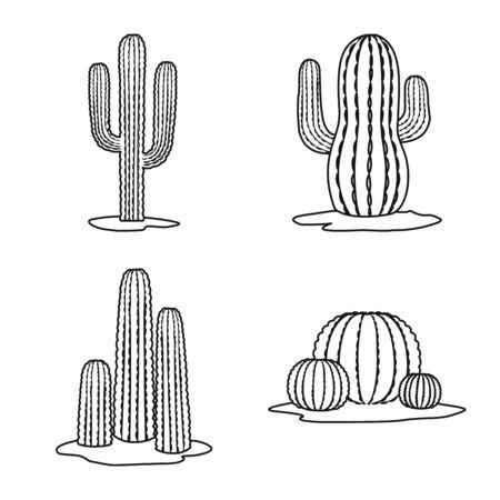 Vector illustration of vegetative and interior sign. Collection of vegetative and desert vector icon for stock. Çizim