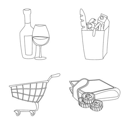 Vector design of food and drink sign. Collection of food and store stock vector illustration.