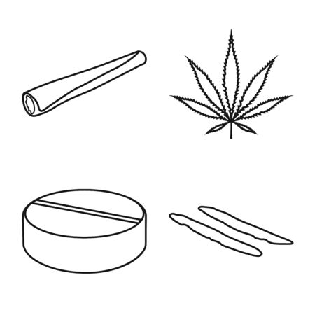 Vector design of narcotic and medical icon. Set of narcotic and illegal stock symbol for web.