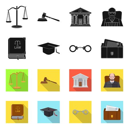 Vector illustration of law and lawyer sign. Collection of law and justice stock vector illustration.