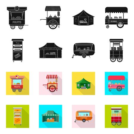 Isolated object of market and exterior logo. Set of market and food stock vector illustration.